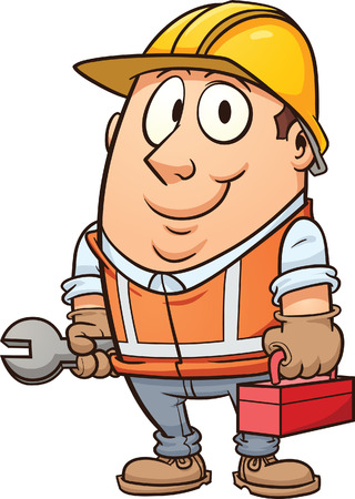 construction worker cartoon: Cartoon construction worker  Vector clip art illustration with simple gradients  All in a single layer