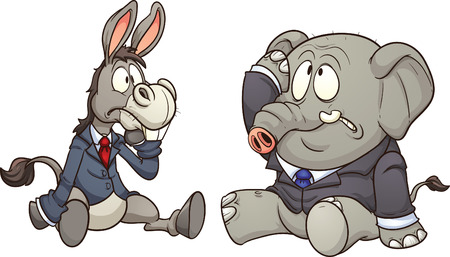 Elephant and donkey in business, Vector clip art illustration with simple gradients   Each on a separate layer   Illustration