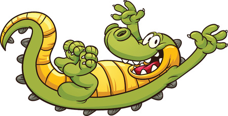 alligators: Happy cartoon crocodile  Vector clip art illustration with simple gradients  All in  a single layer