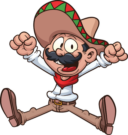 cartoon: Cartoon Mexican cowboy  Vector clip art illustration with simple gradients  All in a single layer