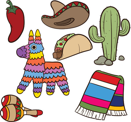 Cartoon Mexican items Vector clip art illustration Each element on a separate layer Vector Illustration