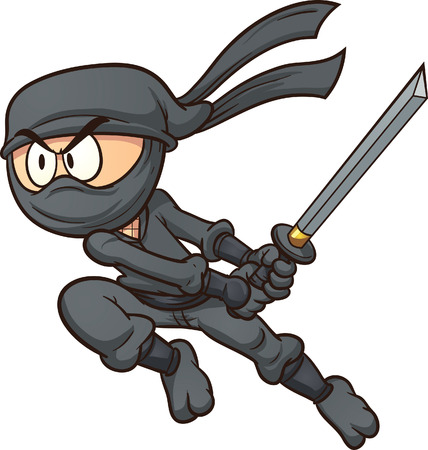ninja: Cartoon Ninja-Angriff Vektor Clip-Art-Illustration mit einfachen Farbverl�ufen Alles in einer einzigen Schicht Illustration