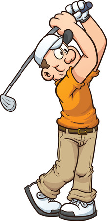 Cartoon golfer  Vector clip art illustration with simple gradients  All in a single layer   Vector
