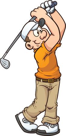 Cartoon golfer Vector illustraties illustratie met eenvoudige hellingen alles in een enkele laag
