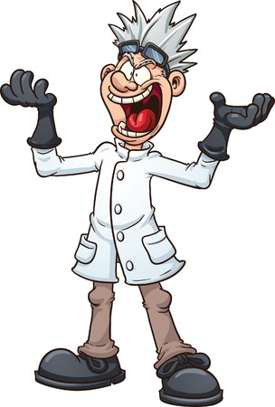 Mad cartoon scientist Vector clip art illustration with simple gradients All in a single layer