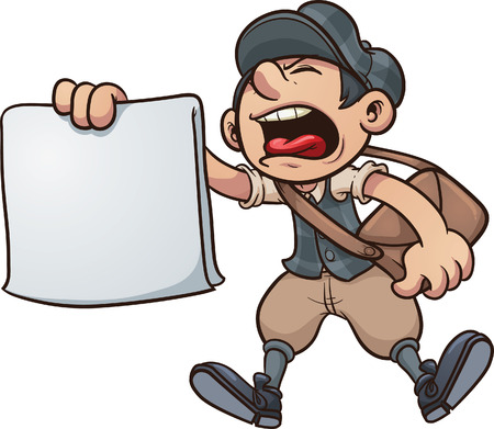 vintage newspaper: Cartoon paper boy yelling  Vector clip art illustration with simple gradients  All in a single layer   Illustration