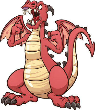 dragon cartoon: Angry cartoon dragon  Vector clip art illustration with simple gradients  All in a single layer