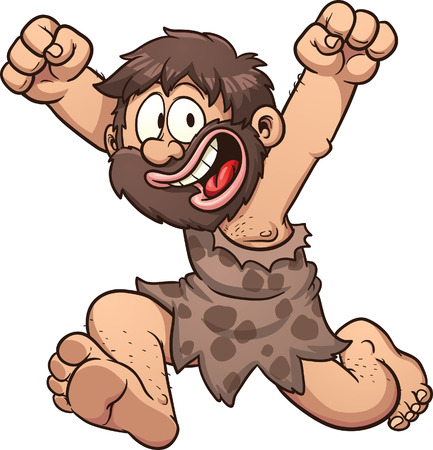 Happy cartoon caveman  Vector clip art illustration with simple gradients  All in a single layer