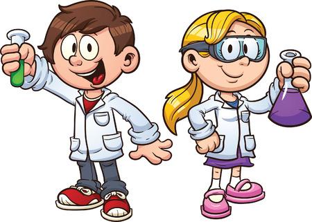 human character: Bambini Scientist Vector clip art illustrazione con semplici gradienti ciascuno su un livello separato