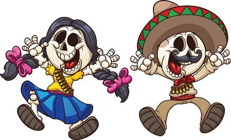 mexican cartoon: Cartoon Mexican skeletons  Vector clip art illustration with simple gradients  Each on a separate layer