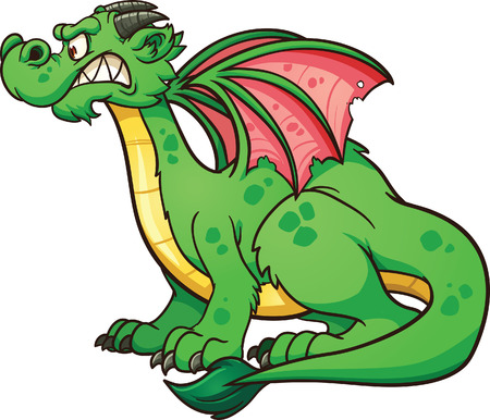 Cartoon dragon  Vector clip art illustration with simple gradients  All in a single layer