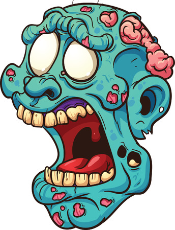 Cartoon zombie head  Vector clip art illustration with simple gradients  All in a single layer   Ilustrace