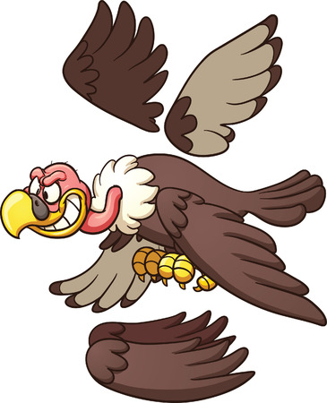 flapping: Cartoon vulture ready for animation  Vector clip art illustration with simple gradients  Each part on a separate layer