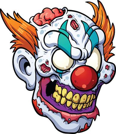 scar: Zombie clown kop Vector clip art afbeelding met eenvoudige gradiënten alles in een enkele laag