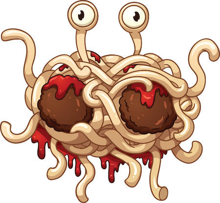 Flying spaghetti monster  Vector clip art illustration with simple gradients  All in a single layer