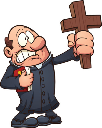 Cartoon priest holding a big cross  Vector clip art illustration with simple gradients  All in a single layer