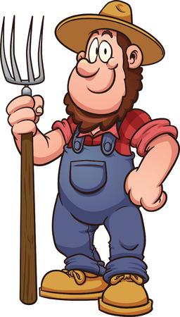 granjero: Agricultor de dibujos animados Vector de imágenes prediseñadas ilustración con gradientes simples Todo en una sola capa