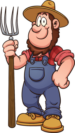 Cartoon farmer  Vector clip art illustration with simple gradients  All in a single layer