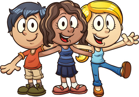 Cute cartoon kids  Vector clip art illustration with simple gradients  All in a single layer