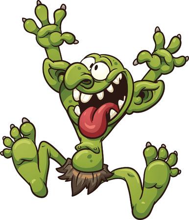 Crazy cartoon trol met eenvoudig verlopen alles in een enkele laag Stock Illustratie