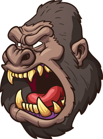 gorila: Gorila enojado cabeza Vector de imágenes prediseñadas ilustración con gradientes simples Todo en una sola capa Vectores