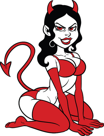 femme seule: Femme de diable pin up Vector clip art illustration tout dans un fichier unique couche de EPS8 inclus Illustration