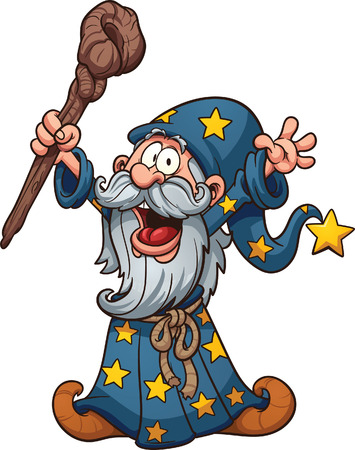 Cartoon wizard Vector clip art illustration with simple gradients All in a single layer