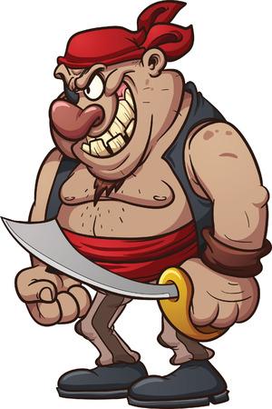 Cartoon piraat Vector clip art afbeelding met eenvoudige hellingen Al met een enkele laag