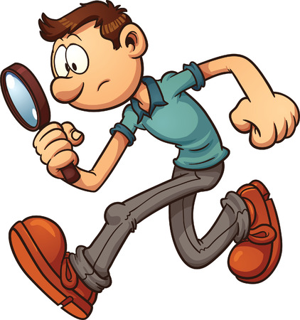 Man searching with a magnifying glass  Vector clip art illustration with simple gradients  All in a single layer