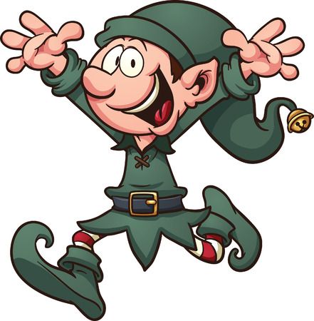 Cartoon Christmas elf  Vector clip art illustration with simple gradients  All in a single layer