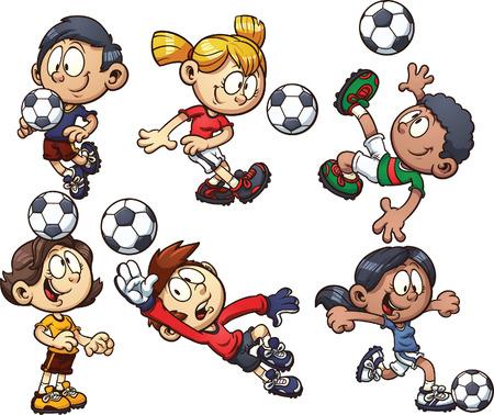 enfants qui jouent: enfants de football de bande dessin�e Vector clip art illustration avec des d�grad�s simples chacune sur un calque s�par�