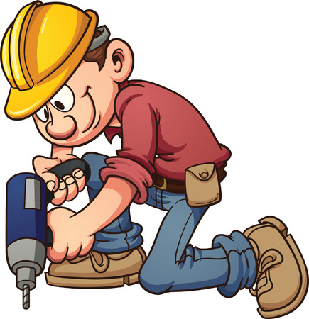 Cartoon construction worker drilling a hole  Vector clip art illustration with simple gradients  All in a single layer