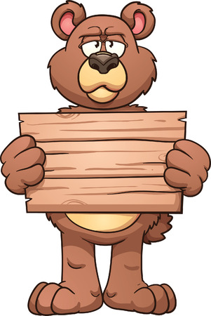 Serious cartoon bear holding a wooden sign  Vector clip art illustration with simple gradients  All in a single layer  Vector