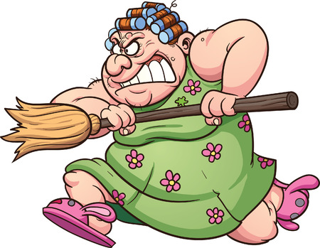 Fat woman running with a broom clip art illustration with simple gradients  Ilustração
