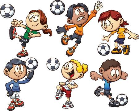 futbol soccer dibujos: Cartoon niños jugando al fútbol Vector de imágenes prediseñadas ilustración con gradientes simples cada uno en una capa separada Vectores