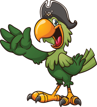green parrot: Cartoon pirate parrot clip art illustration with simple gradients  All in a single layer   Illustration