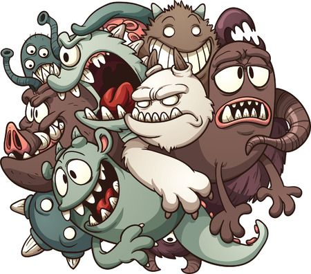 monster cartoon: Cartoon monsters  Vector clip art illustration with simple gradients  All in a single layer   Illustration