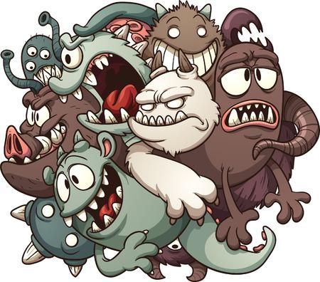 Cartoon monstres Vector clip art illustration avec des dégradés simples Tout en une seule couche Vecteurs
