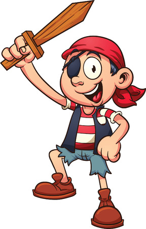 Pirate kid holding a wooden sword  Vector clip art illustration with simple gradients  All in a single layer Stock fotó - 29120159