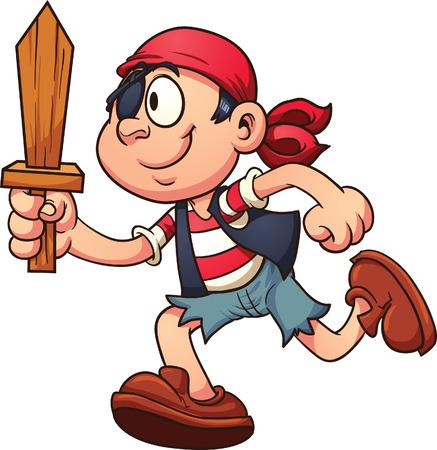 Pirate kind loopt Vector illustraties illustratie met eenvoudige hellingen alles in een enkele laag