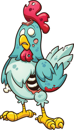 hen and chicken: Cartoon zombie chicken  Vector clip art illustration with simple gradients  All in a single layer  Illustration