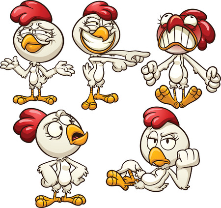 hen: Cartoon hen with different emotions  Vector clip art illustration with simple gradients  Each on a separate layer
