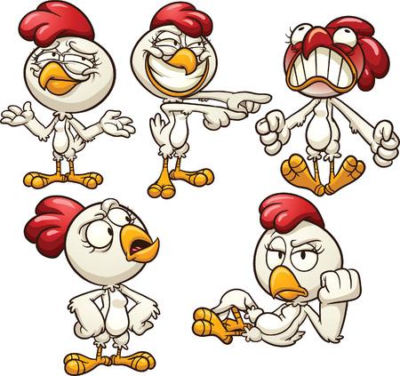 Cartoon kip met verschillende emoties Vector illustraties illustratie met eenvoudige hellingen Elk op een aparte laag Stock Illustratie