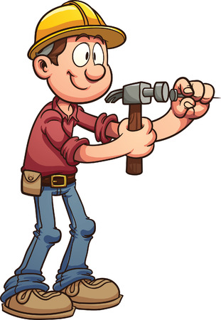 Construction worker hammering a nail  Vector clip art illustration with simple gradients  All in a single layer