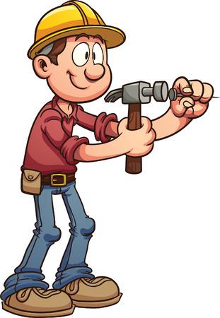 Bouwvakker hameren een spijker vector clip art afbeelding met eenvoudige hellingen Al met een enkele laag Stock Illustratie