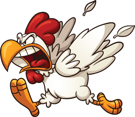 angry cartoon: Angry cartoon chicken  Vector clip art illustration with simple gradients  All in a single layer