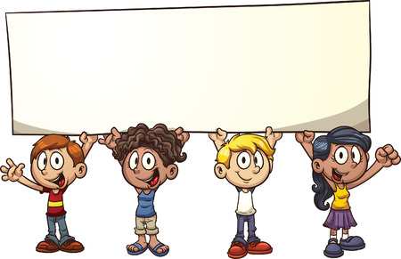 Cartoon kids holding a big sign  Vector clip art illustration with simple gradients  All in a single layer