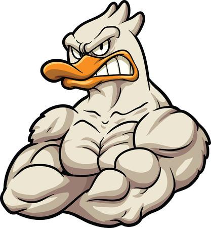 Mascota de pato de dibujos animados fuerte Ilustración de imágenes prediseñadas de vector Todo en una sola capa Foto de archivo - 29483192