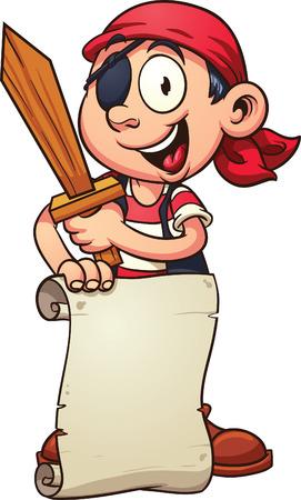 Cartoon piraat jongen die een papier schuiven en een zwaard. Vector illustraties illustratie met eenvoudig verlopen. Teken en karakter op aparte laag