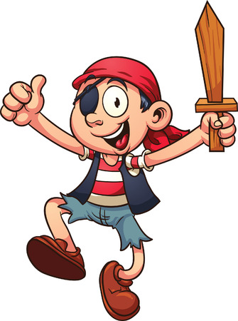 pirate cartoon: Happy cartoon pirate jumping.  Vector clip art illustration with simple gradients.  All in a single layer